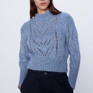 ZARA Pointelle Cropped Knit Sweater